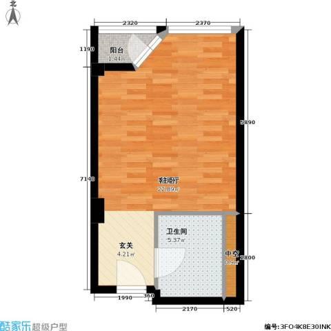 港湾国际1厅1卫0厨40.00㎡户型图