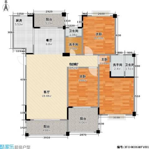南国明珠3室1厅2卫1厨130.00㎡户型图