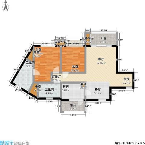 瑞安重庆天地2室1厅2卫1厨90.00㎡户型图