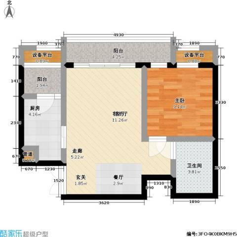 瑞安重庆天地1室1厅1卫1厨50.00㎡户型图