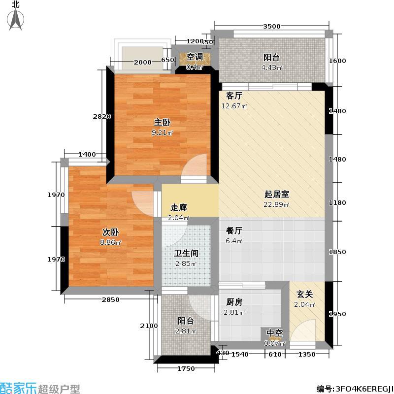 怡龙枫景园74.00㎡怡龙枫景园户型图2室2厅1卫(1/1张)户型10室