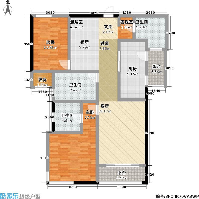 汇豪天下124.70㎡房型: 三房; 面积段: 124.7 -143.9 平方米; 户型