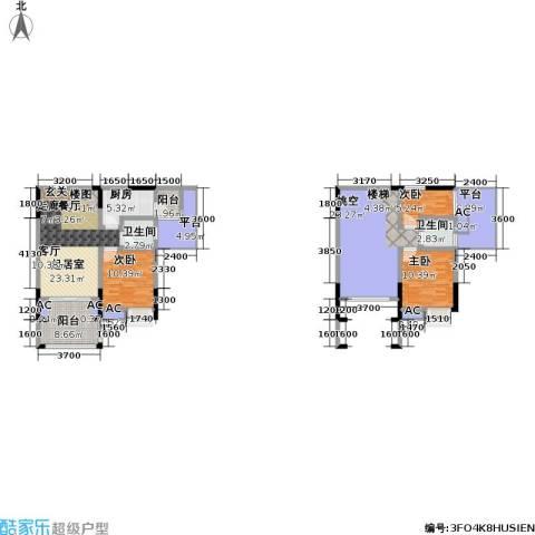 金科蚂蚁SOHO二代3室0厅2卫1厨157.00㎡户型图