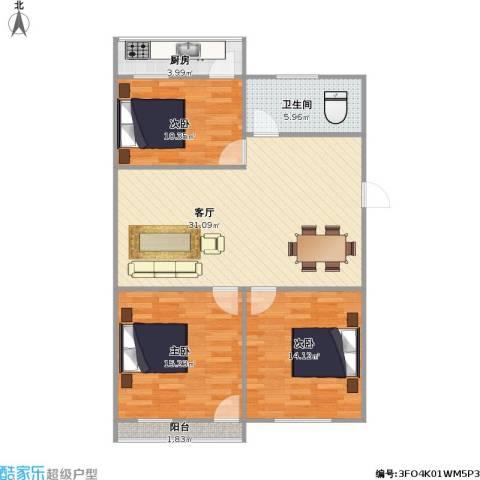 还乡店小区3室1厅1卫1厨111.00㎡户型图