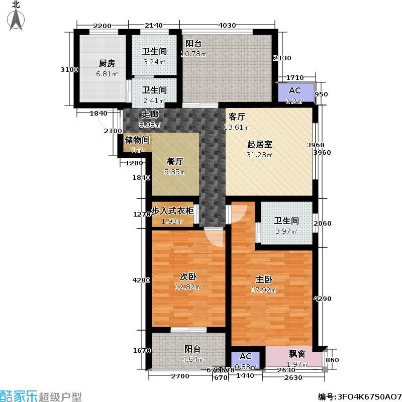 景泰家园108.20㎡景泰家园户型图景泰家园01型2室2厅1卫(3/3张)户型2室2厅1卫