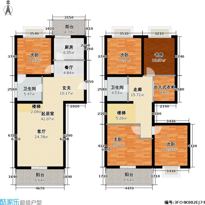 天地新城177.54㎡跃层A五室二厅二卫户型