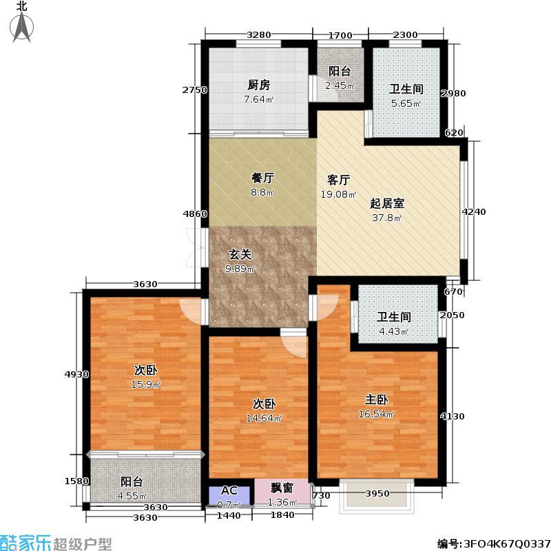 天顺御和苑126.00㎡天顺御和苑户型图三房二厅二卫-126平方米-9套(2/6张)户型10室