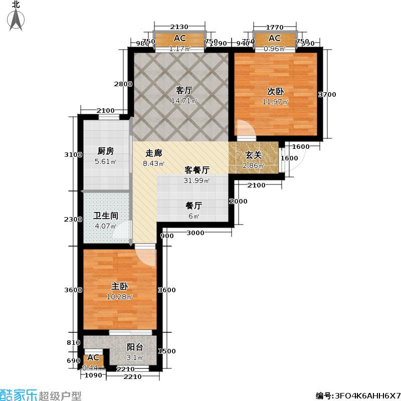福顺嘉苑1号楼5号楼C1户型2室1厅1卫1厨