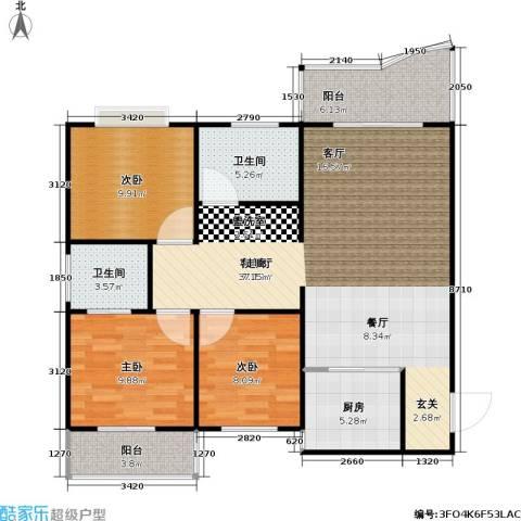 葛洪花园3室1厅2卫1厨96.00㎡户型图