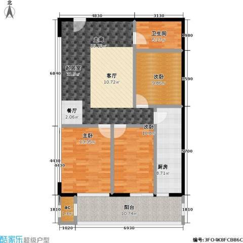 天龙华鹤(天下儒寓)3室0厅1卫1厨104.00㎡户型图