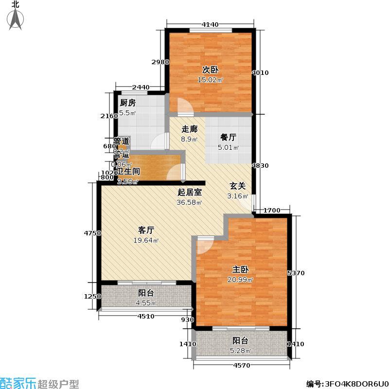 新都丽苑103.22㎡二室二厅一卫户型