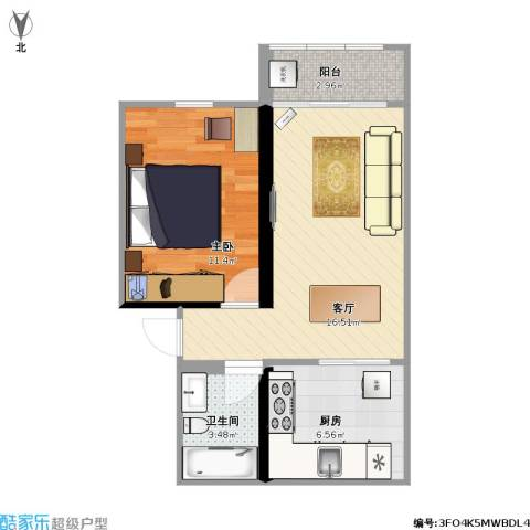 马浜花园南区1室1厅1卫1厨46.00㎡户型图