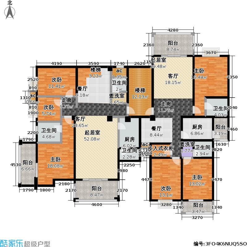 金桥花园D型3室2厅187.08平方米户型