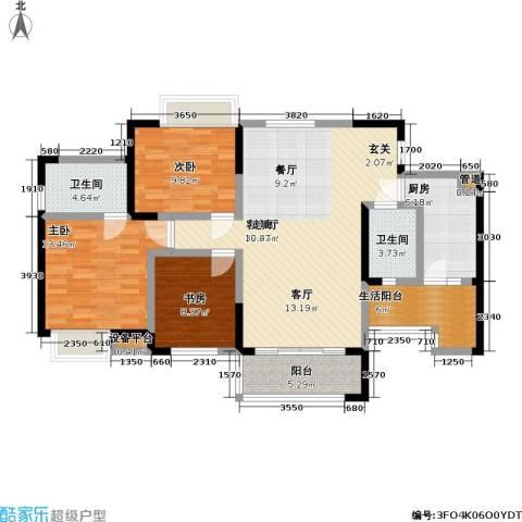 润锦御珑山3室1厅2卫1厨120.00㎡户型图