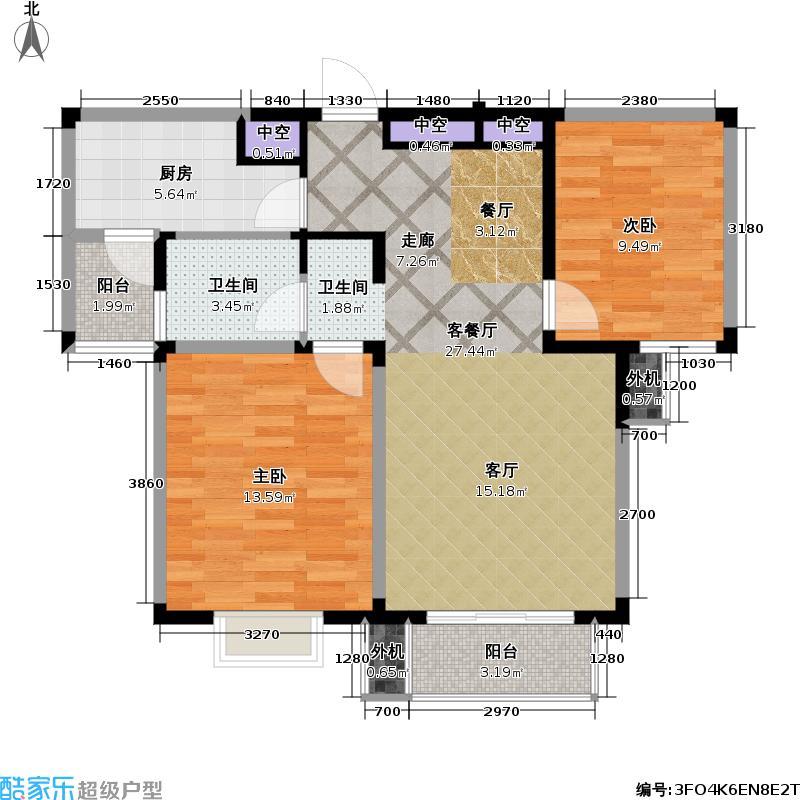 星胜客75.00㎡星胜客户型图二房二厅一卫-85平方米(6/9张)户型10室