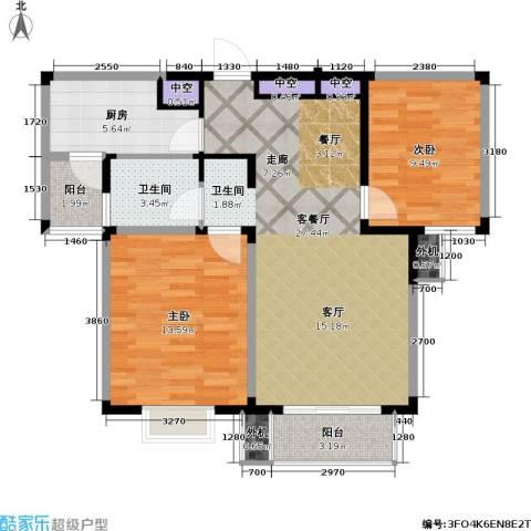 星胜客2室1厅1卫1厨76.73㎡户型图