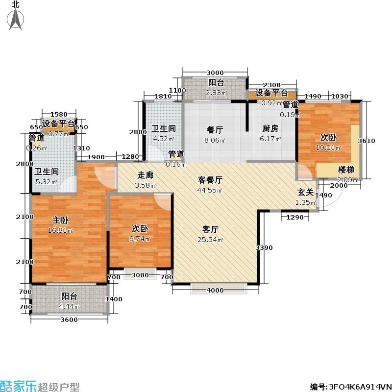 中建汤逊湖壹号高层126.08㎡户型C2户型4室2厅2卫