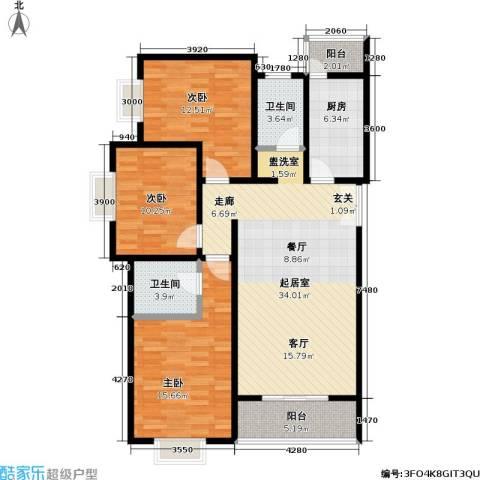 格瑞雅居3室0厅2卫1厨127.00㎡户型图