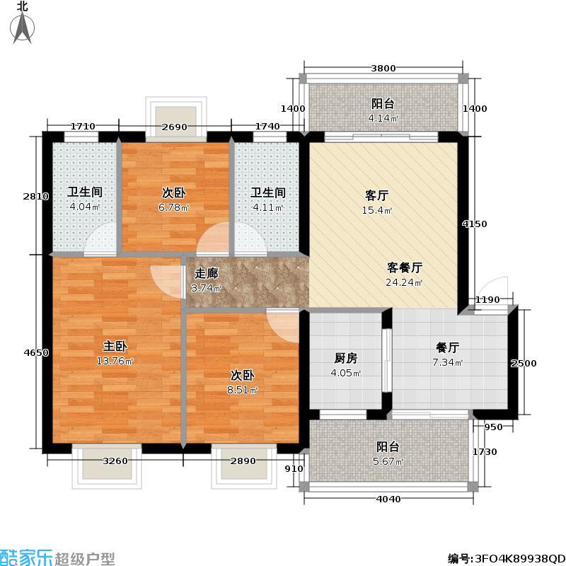 盈滨绿生花园91.15㎡二期11、12#B户型 3室2厅2卫户型