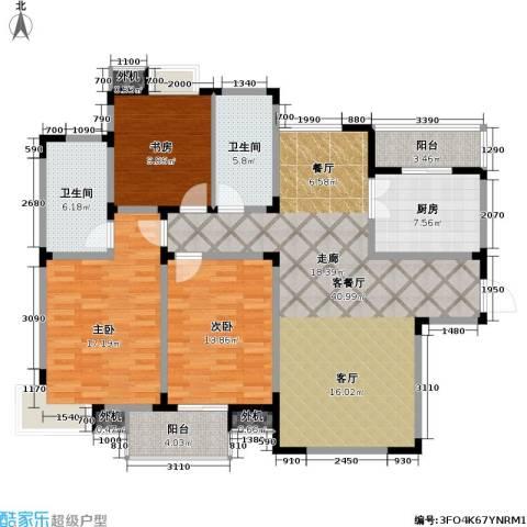 星胜客3室1厅2卫1厨124.46㎡户型图