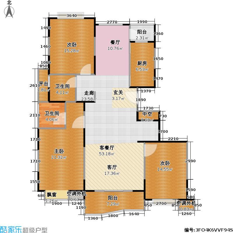华翔公寓西块124.77㎡房型: 三房; 面积段: 124.77 -142.69 平方米;户型