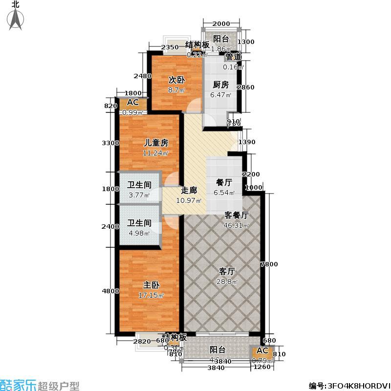 清枫华景园三室一厅户型