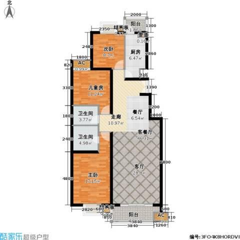 清枫华景园3室1厅2卫1厨153.00㎡户型图