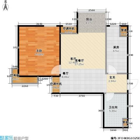 燕莎・后1室1厅1卫1厨69.00㎡户型图
