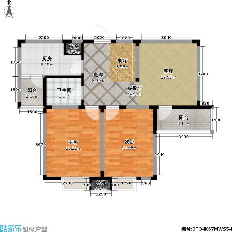 星胜客75.00㎡星胜客户型图二房二厅一卫-85平方米(4/9张)户型10室