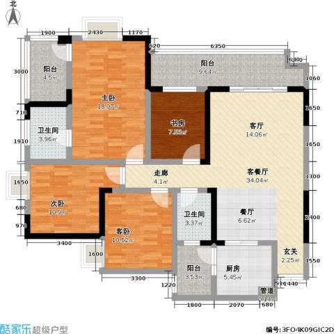 和泓南山道4室1厅2卫1厨118.00㎡户型图