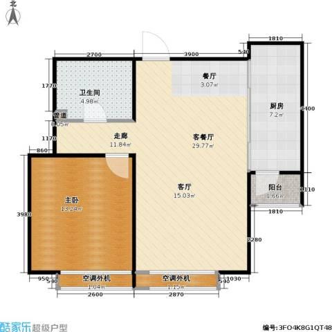 燕莎・后1室1厅1卫1厨77.00㎡户型图