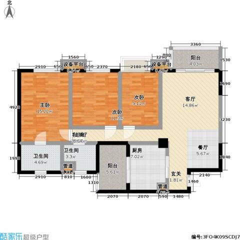 瑞安重庆天地3室1厅2卫1厨107.00㎡户型图
