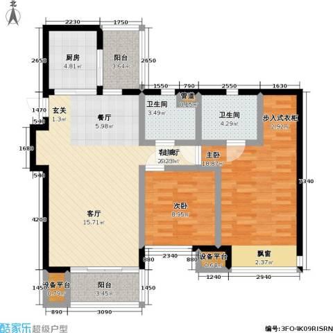 瑞安重庆天地2室1厅2卫1厨89.00㎡户型图