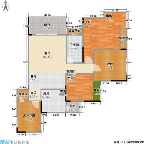 劲旅・丽景花园3室1厅1卫1厨128.00㎡户型图