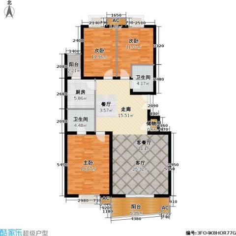 清枫华景园3室1厅2卫1厨158.00㎡户型图