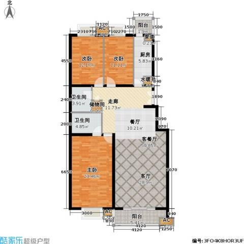 清枫华景园3室1厅2卫1厨172.00㎡户型图