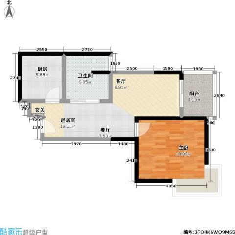 静安晶华园1室0厅1卫1厨57.00㎡户型图