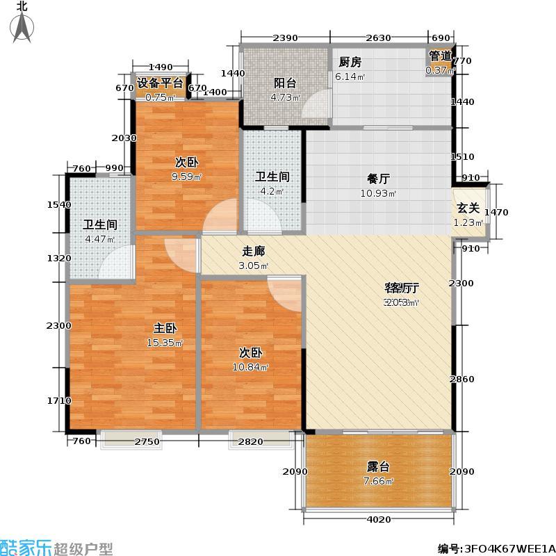 富力桃园109.86㎡B11栋6号房 2室2厅2卫可变3室 实得约130㎡户型3室2厅2卫