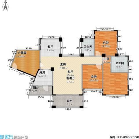 南国明珠3室1厅2卫1厨126.00㎡户型图