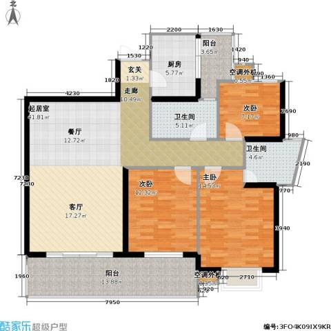 庆业巴蜀城B区3室0厅2卫1厨109.74㎡户型图