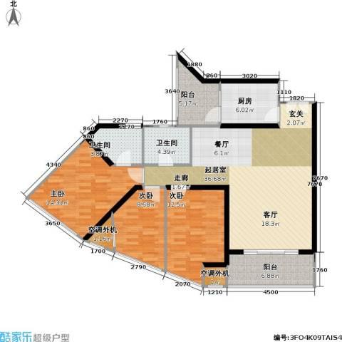 庆业巴蜀城B区3室0厅2卫1厨100.65㎡户型图