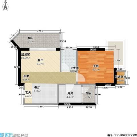 庆业巴蜀城B区1室0厅1卫1厨42.19㎡户型图