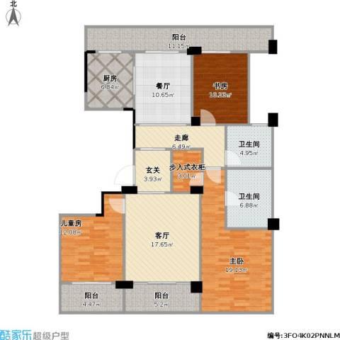 余姚绿城明园3室2厅2卫1厨169.00㎡户型图