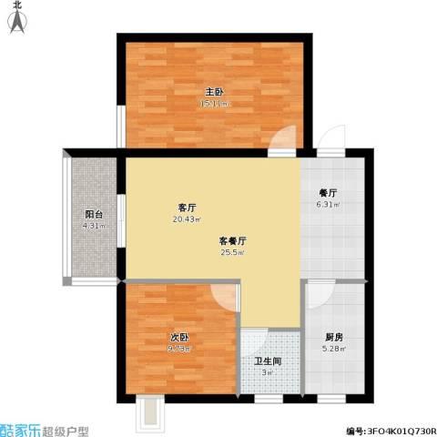 昆明时光2室1厅1卫1厨89.00㎡户型图