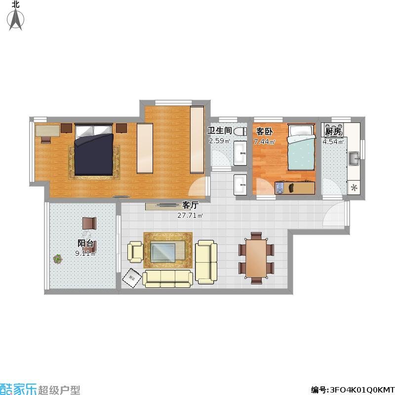 陈奎制作的两室一厅户型
