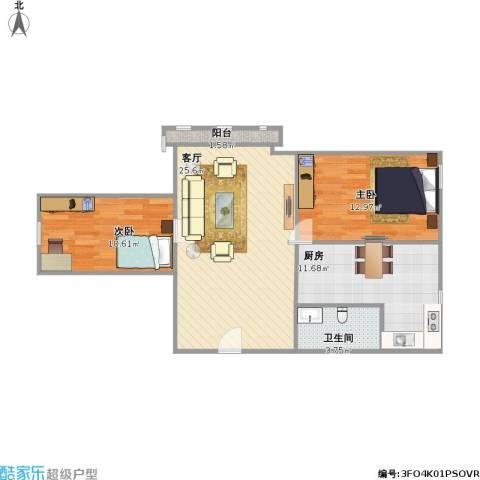 汇功・世纪城2室1厅1卫1厨89.00㎡户型图
