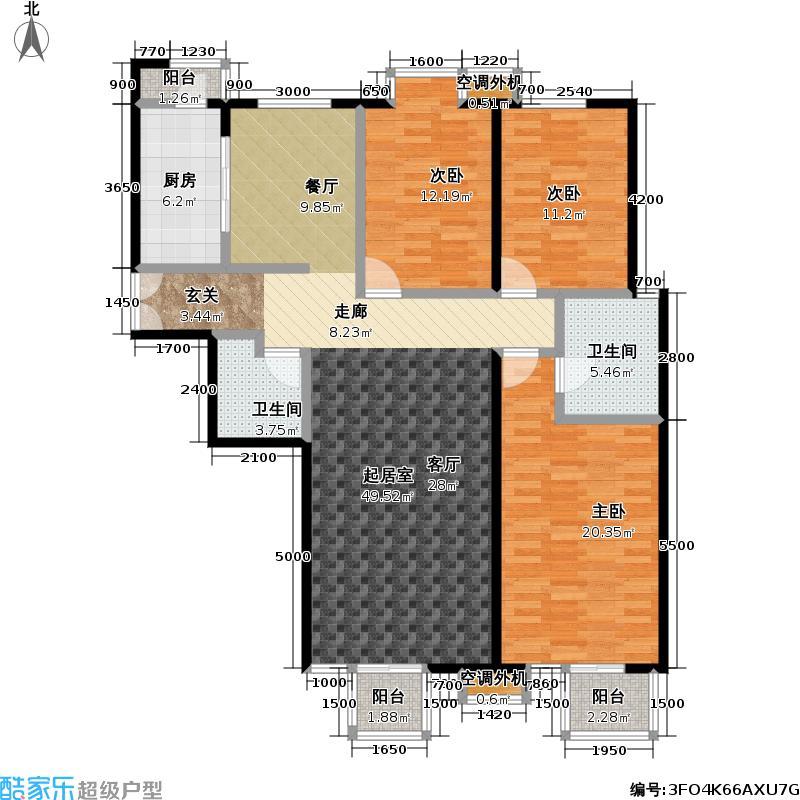 玺萌公馆D1-01户型3室2卫1厨