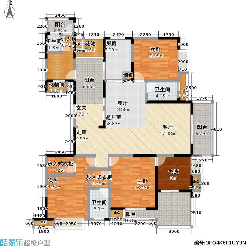 三金华都197.00㎡6号楼 B2户型 五室二厅三卫户型5室2厅3卫