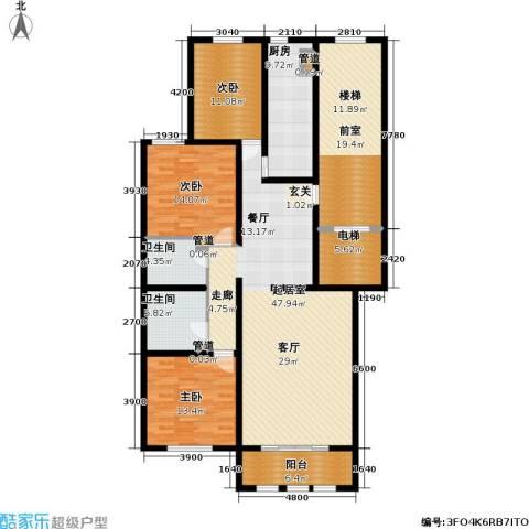 福城新天地3室0厅2卫1厨153.00㎡户型图