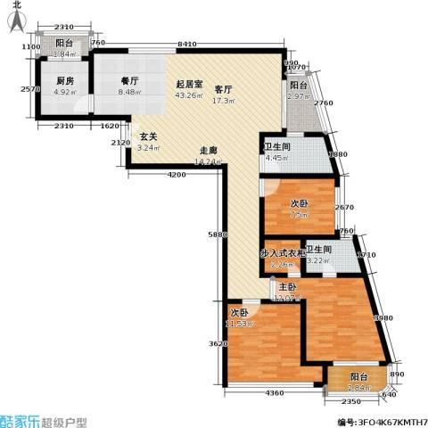 静安桂花园3室0厅2卫1厨113.00㎡户型图